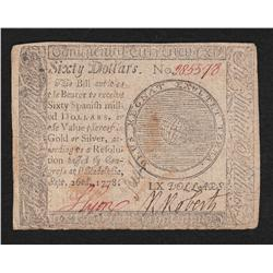 Continental Currency.  September 26, 1778.  Sixty Dollars.