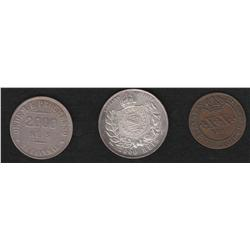 Lot of three Brazil pieces , 20 reis , 1821R