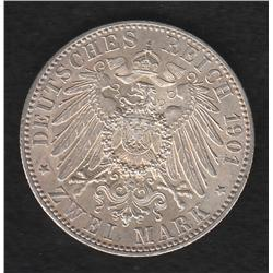 German States , Prussia , 2 marks , 1901