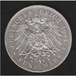 German States , Prussia , 5 marks , 1903