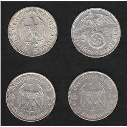 Lot of four Germany 5 reichsmark pieces