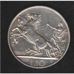 Italy , 10 lira , 1927R