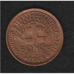 Madagascar , 50 centimes , 1943