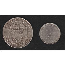 Lot of two Panama pieces , 1/2 balboa , 1930