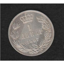 Serbia , 1 dinar , 1897
