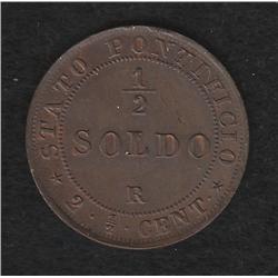 Papal States , 1/2 soldo , 1867R