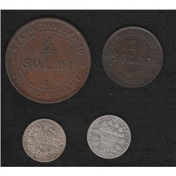 Lot of four Papal States pieces
