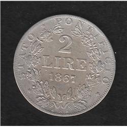 Papal States , 2 L , 1867R