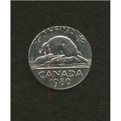 1980 Five cent on dime planchet