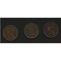 Lot of Three New Brunswick 1 cent 1861, 1864, 1864