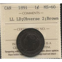 1891 Large Date Large Leaves One Cent
