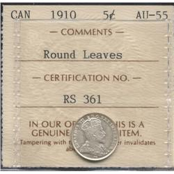 1910 Round Leaves Five Cent