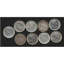 Lot of 9 Five Cents