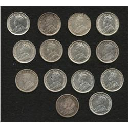 Lot of 14 Five Cents