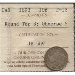 1893 Ten Cents Round Top 3
