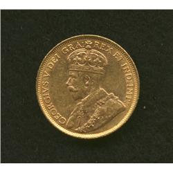 1912 Canadian $5 Gold