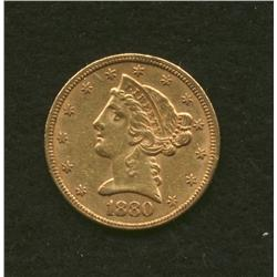 1880 $5 Gold Coin