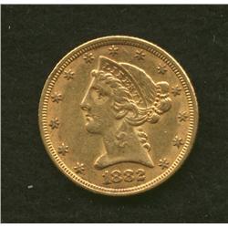 1882 $5 Gold Coin