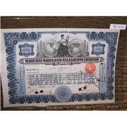 Marconi Wireless Telegraph Company $5 Shares Cert.