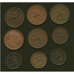 Lot of Nine Province of Canada Tokens