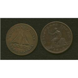 Lot of Two Tokens: Commercial Change 1833 & UC Halfpenny