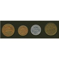 Lot of Four L.G. Marineau Ottawa Tokens