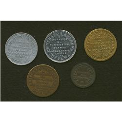 Lot of Five Pritchard & Andrews, Ottawa Tokens