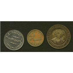 Lot of Three F.X. Paquet, Ottawa Tokens