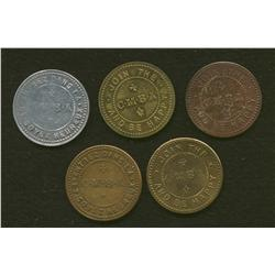 Lot of Five C.M.B.A. Tokens