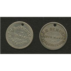 Lot of Two J.R. Ormond, Peterborough Tokens