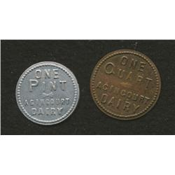 Lot of Two Agincourt Dairy Tokens
