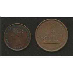 Lot of Two: New Brunswick 1843 One Penny & 1843 Half Penny