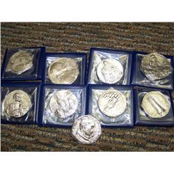 Lot of 9 Vatican & Papal Silver Medallions