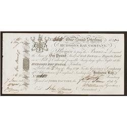 1821 Hudson Bay Company One Pound Sterling