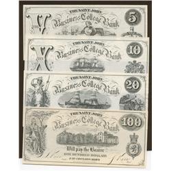 Saint John Business College Bank - $5, $10, $20, $100 UNC
