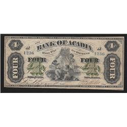 1872 Bank of Acadia $4
