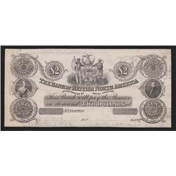 1856 Bank of British North America $2 Proof