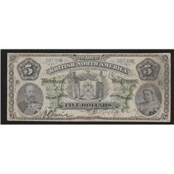 1886 British Bank of North America $5