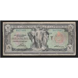 1917 Canadian Bank of Commerce $5