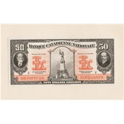 1929 Banque Canadienne Nationale $50 Front Proof