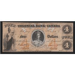 1859 Colonial Bank of Canada $4