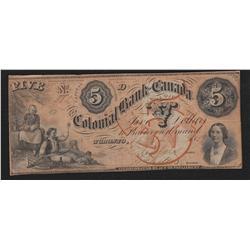 1859 Colonial Bank of Canada $5