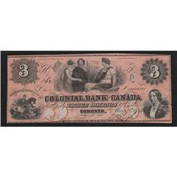 1859 Colonial Bank of Canada $3