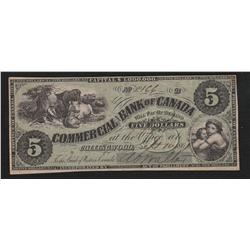 1861 Commercial Branch Bank of Canada $5