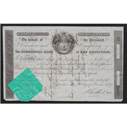 1839 Commercial Bank of New Brunswick Share Certificate