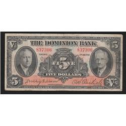 1935 Dominion Bank $5