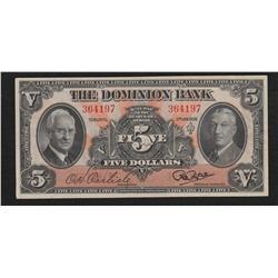 1938 Dominion Bank $5