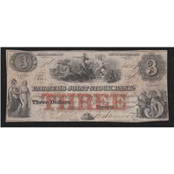 1849 Farmer's Joint Stock Bank $3