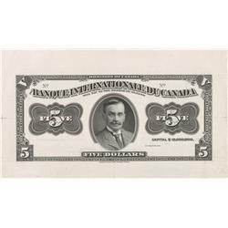 Banque Internationale Canada $5 Face Proof & Vignette