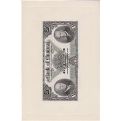 1942 Bank of Montreal $5 Face Proof on Card
